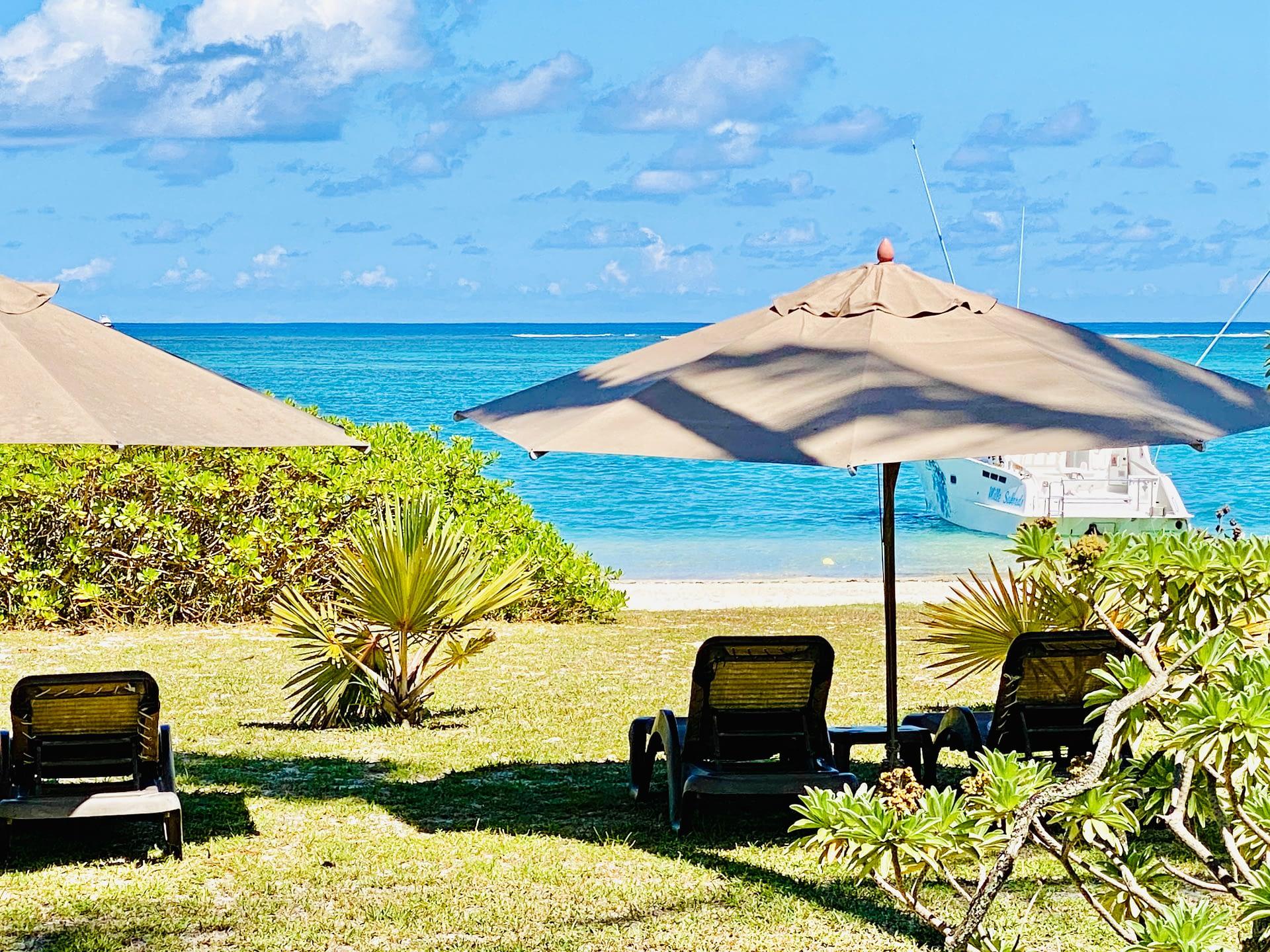 sun beds beachfront trou aux biches