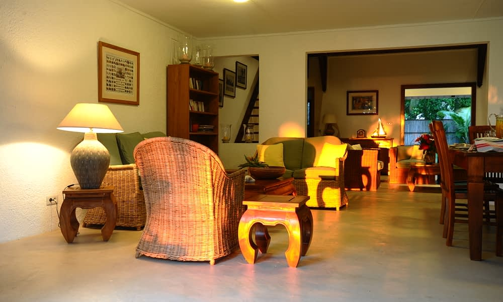 Villa Tropic 2 living room at sun set